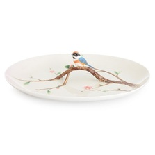 Black Throated Passerine Bird Porcelain Tray | FZ02759 | Franz Porcelain Collection