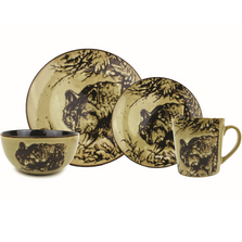 Wolf Dinnerware 4 Piece Place Setting | Unison Gifts | UGITFCWOLF
