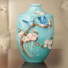 Bluebird on Apple Tree Vase | FZ02852 | Franz Porcelain Collection