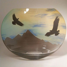 Eagle Mountain Scene Polish Art Glass Vase | WOM-AA-E570