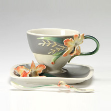 Magnificent Cattleya Orchid Cup Saucer Spoon | FZ02866 | Franz Porcelain Collection