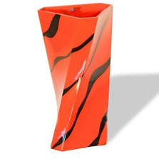 Orange Zebra Twist Art Glass Vase | WOM-GD27078