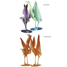 Crane Pair Steel Sculptures | Cricket Forge | SSDD:S130-S131-S130P-S131P