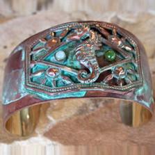 Seahorse Verdigris Brass Cuff Bracelet | Elaine Coyne Jewelry | ECGOCP9246cf