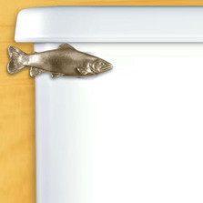 Trout Toilet Flush Handle | Functional Fine Art | ffa00104satinpewter