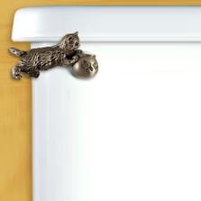 Kitten Toilet Flush Handle Satin Pewter | Functional Fine Art | ffa00106SP
