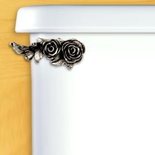 Roses Toilet Flush Handle | Functional Fine Art | ffa00150satinpewter