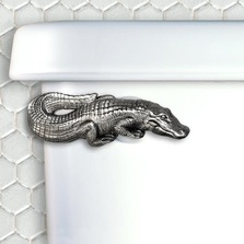 Alligator Pewter Toilet Handle | Functional Fine Art | ffaalligatorsatin