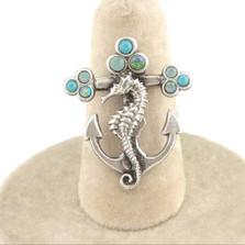 Seahorse Anchor Turquoise Il Mare Ring | La Contessa Jewelry | LCRG8761tqc