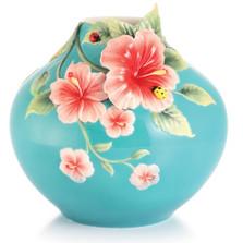 Forever in Love Hibiscus-Ladybug Vase | FZ03016 | Franz Porcelain Collection
