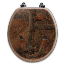"Pheasant Oak Wood Round Toilet Seat ""Abandoned Fenceline"" 
