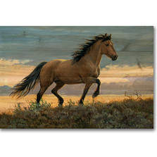 "Horse Wood Wall Art ""Buckskin Stallion"" 