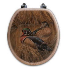 "Wood Duck Oak Wood Round Toilet Seat ""Back Waters"" 