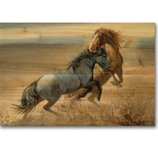 "Horse Wood Wall Art ""Challenged"" 