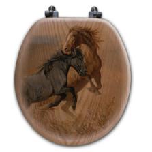 "Horse Oak Wood Round Toilet Seat ""Challenge"" | Wood Graphixs | WGICHAL-R"