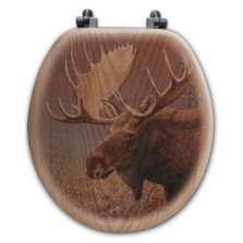 "Moose Oak Wood Round Toilet Seat ""Chocolate"" 