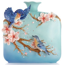 Jovial Bluebird and Cherry Blossom Vase | FZ03092 | Franz Porcelain Collection -2