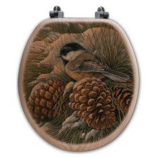 "Chickadee Oak Wood Round Toilet Seat ""December Dawn"" | Wood Graphixs | WGIDDC-R"