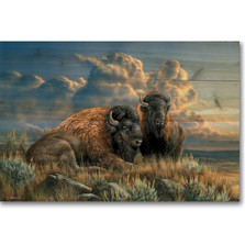 """Bison Wood Wall Art """"Distant Thunder"""" 