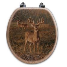 "Deer Oak Wood Round Toilet Seat ""First Light"" | Wood Graphixs | WGIFL-R"