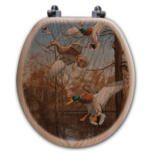 "Duck Oak Wood Round Toilet Seat ""Greenhead Haven"" 