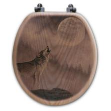 "Wolf Oak Wood Round Toilet Seat ""Kindred Spirit"" | Wood Graphixs | WGIKS-R"