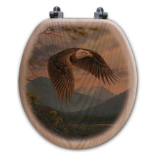 "Eagle Oak Wood Round Toilet Seat ""Majestic Moment"" 
