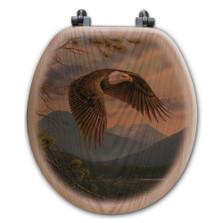 "Eagle Oak Wood Round Toilet Seat ""Majestic Moment"" | Wood Graphixs | WGIMAJM-R"