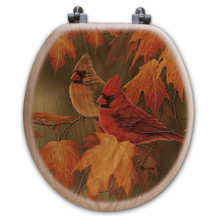 Cardinal Maple Leaves Oak Wood Round Toilet Seat | Wood Graphixs | WGIMLC-R