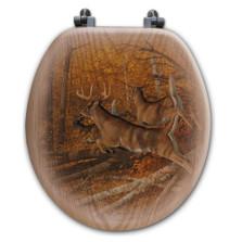 "Deer Oak Wood Round Toilet Seat ""Maple Rush"" | Wood Graphixs | WGIMR-R"