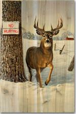"Deer Wood Wall Art ""No Hunting"" | Wood Graphixs | WGINH1624"