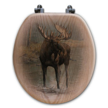 "Moose Oak Wood Round Toilet Seat ""Quiet Water"" 