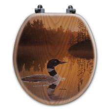 "Loon Oak Wood Round Toilet Seat ""Stone Island"" | Wood Graphixs | WGISIL-R"