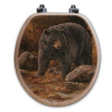 "Bear Oak Wood Round Toilet Seat ""Streamside"" 