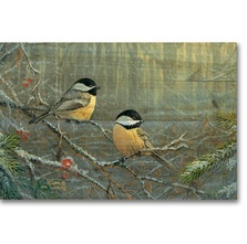 "Chickadees Bird Wood Wall Art ""Winter Breeze"" 