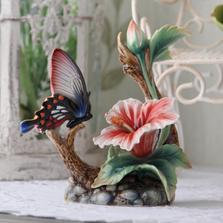 Butterfly and Hibiscus Porcelain Figurine | Franz Porcelain