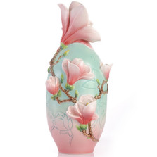 Magnolia Flower Sculptured Porcelain Vase | FZ03414 | Franz Porcelain Collection