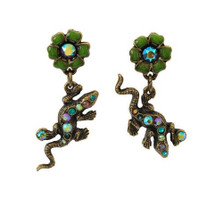 Lizards And Flowers Post Earrings | La Contessa Jewelry | LCER9213