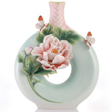 Peony Flower Sculptured Porcelain Vase | FZ03418 | Franz Porcelain Collection