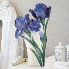 Iris Flower Sculptured Porcelain Vase | FZ03422 | Franz Porcelain Collection