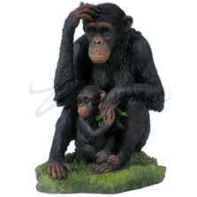 Chimpanzee and Baby Sculpture Color | wu74874aa