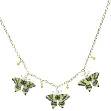 Swallowtail 3 Piece Cloisonne Crystal Necklace | Bamboo Jewelry | BJ0004-nck
