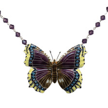 Mourning Cloak  Butterfly Crystal Necklace | Bamboo Jewelry | BJ0127cyn
