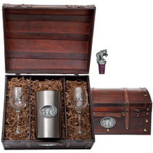 Grizzly Bear Wine Chest Set | Heritage Pewter | HPIWSC105