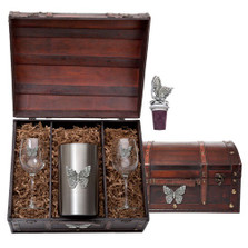 Butterfly Wine Chest Set | Heritage Pewter | HPIWSC4053