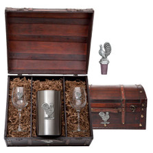 Rooster Wine Chest Set | Heritage Pewter | HPIWSC3760