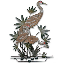 Sandhill Crane Momma and Chicks Wall Sculpture | TI Design | CW294
