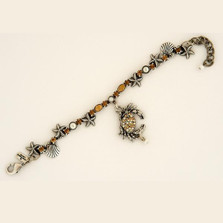 Crab Single Strand Starfish Charm Bracelet   La Contessa Jewelry   BR9172sand-crab
