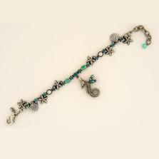 Seahorse Single Strand Starfish Charm Bracelet | La Contessa Jewelry | BR9172BG-seahorse