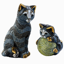 Striped Cat and Baby Ceramic Figurine Set | De Rosa | Rinconada | F193-F393